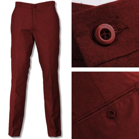 Relco Mod Retro Tonic Two Tone Sta Pressed Trousers Burgundy / Black Thumbnail 1