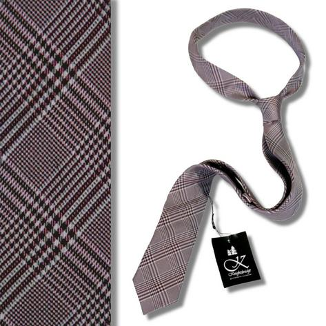 Knightsbridge Retro Mod 60's Prince of Wales Slim Silk Tie Burgundy / Navy Thumbnail 1