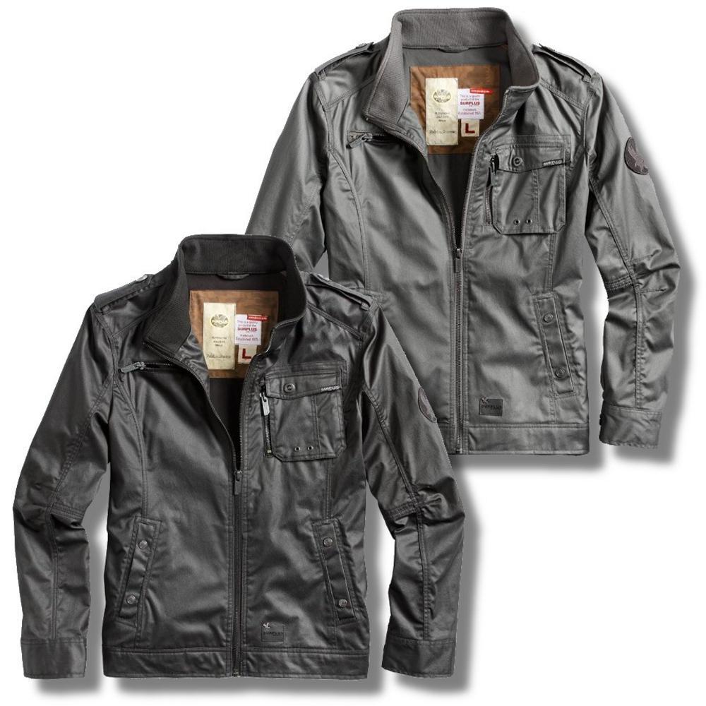 /Surplus Vintage Armored Military Style Waxed Jacket Black ...