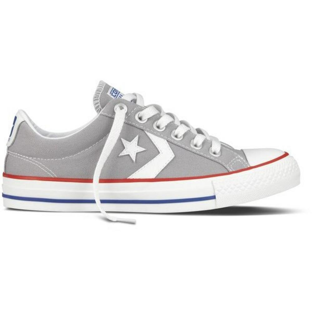 90bfc3a33855 Converse Classic Star Player Chevron EV Ox Lo Canvas Trainer Shoe Light  Grey Whi