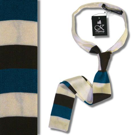 Knightsbridge Mod 60's Retro Block Stripe Slim Square End Knit Silk Ties Thumbnail 4