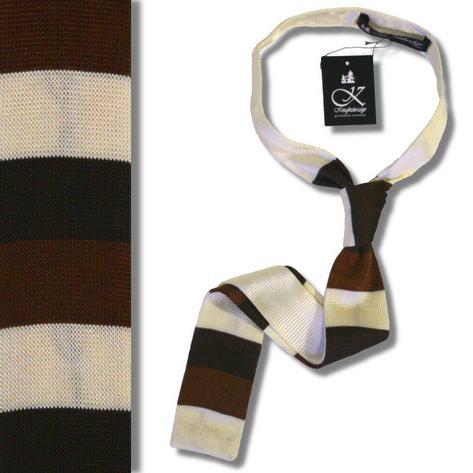 Knightsbridge Mod 60's Retro Block Stripe Slim Square End Knit Silk Ties Thumbnail 2