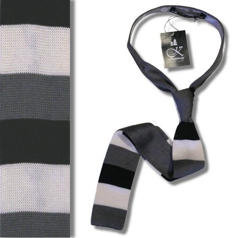 Knightsbridge Mod 60's Retro Block Stripe Slim Square End Knit Silk Ties Thumbnail 3