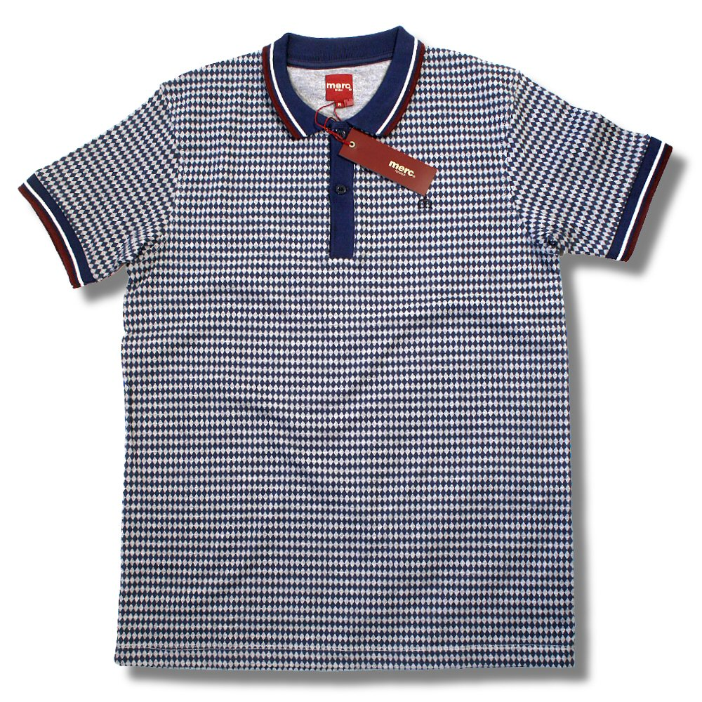 f7763603 Merc London Mod Retro 60's Diamond Print Tipped Polo Shirt Navy Thumbnail 1