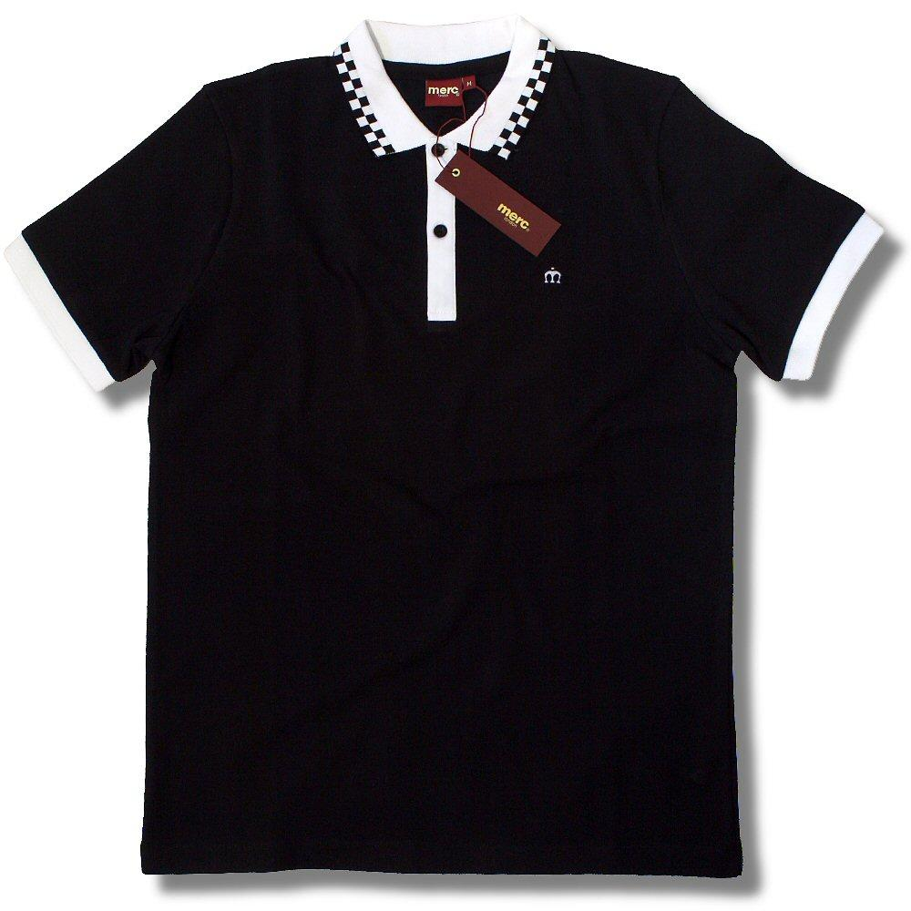 Merc London Mod Skin 2 Tone Pique Check Collar Polo Shirt Black
