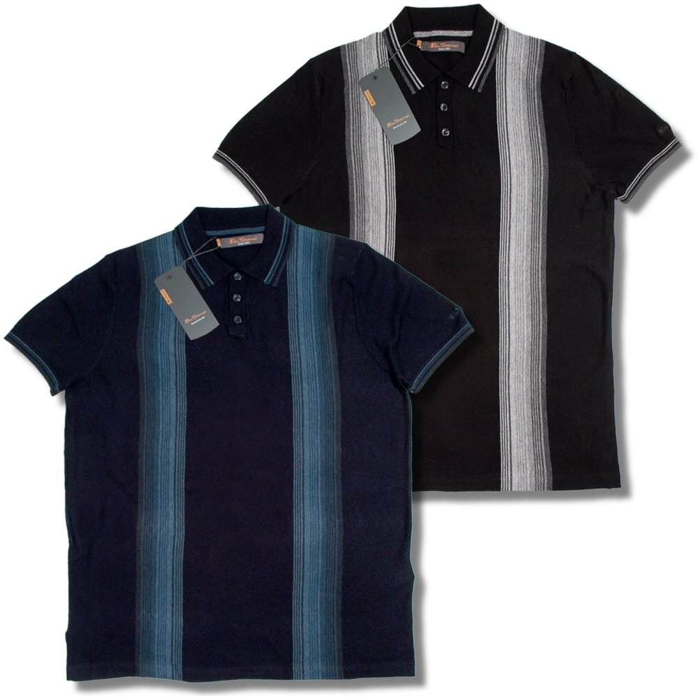 ben sherman mod faded stripes fine gauge knit s s polo shirt adaptor clothing. Black Bedroom Furniture Sets. Home Design Ideas