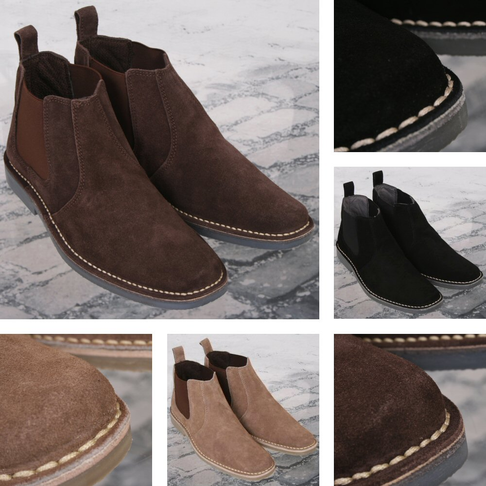 New Roamers Mod Suede Rubber Sole Slip On Desert Boots Beige   Brown  Thumbnail 1 ... 43fa7091bdc9