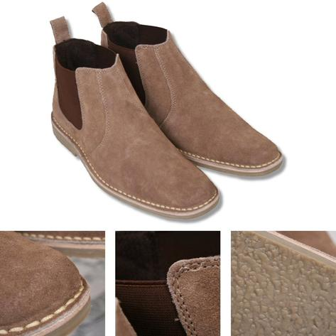 New Roamers Mod Suede Rubber Sole Slip On Desert Boots Beige / Brown Thumbnail 2