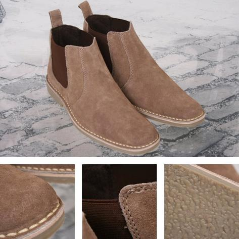 New Roamers Mod Suede Rubber Sole Slip On Desert Boots Beige / Brown Thumbnail 3