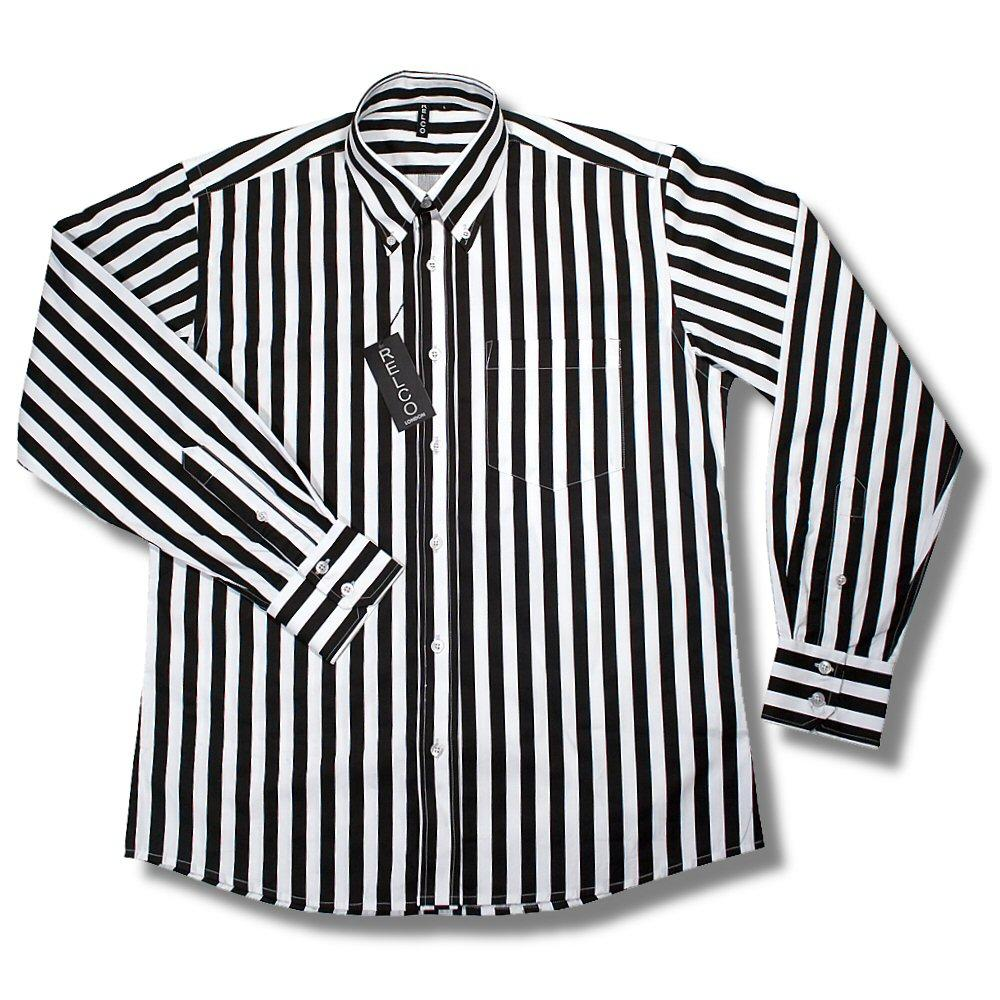 Relco retro mod 60 39 s wide stripe button down l s shirt for White shirt with black