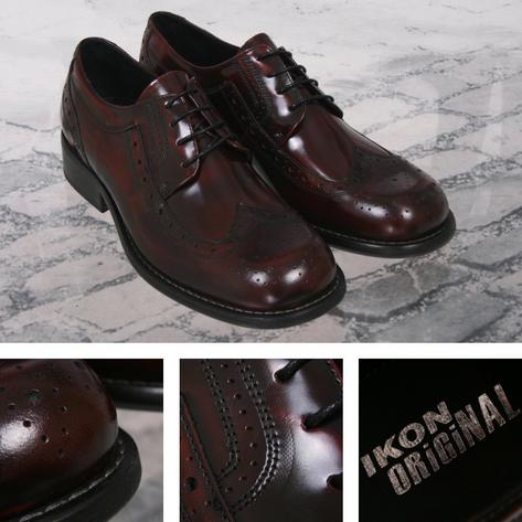 Ikon Originals Toe Cap Skinhead Mod Brogue Shoes Ox Blood Thumbnail 1