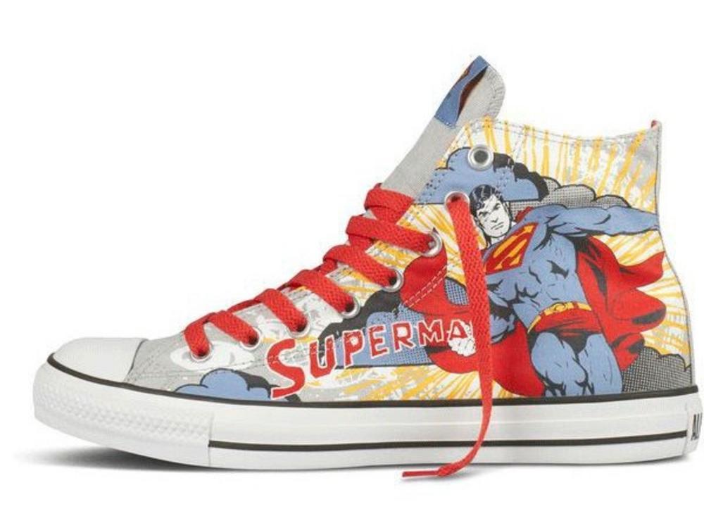 1cd68b00fa87 Converse DC Comics Superman Ltd Edition All Star Hi Canvas Trainer Boot  Grey 10