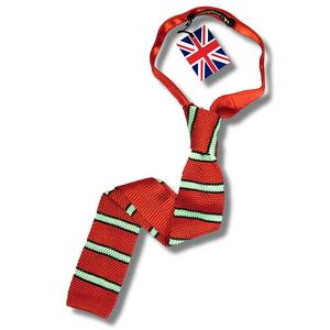 Knightsbridge Retro Mod 60's Ivy League Striped Square End Knitted Silk Tie Red Thumbnail 1