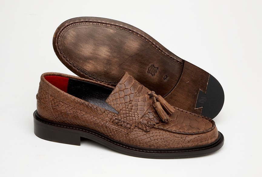 80dd96a8c57 Delicious Junction Tassel Loafers Mod Shoe Snakeskin Effect Leather Brown 12