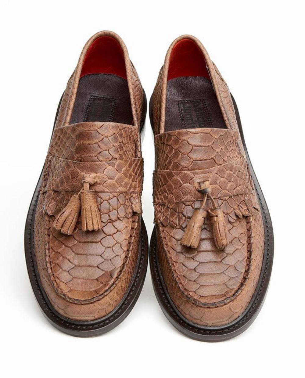 b67cb5994b8 Delicious Junction Tassel Loafers Mod Shoe Snakeskin Effect Leather Brown 9