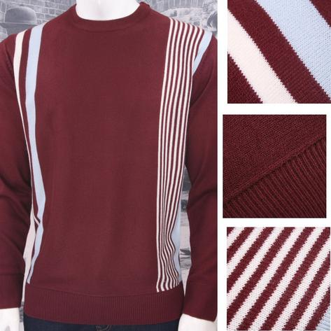 Relco Mod Retro 60's Fine Gauge Knit Racing Stripe Jumper Thumbnail 2