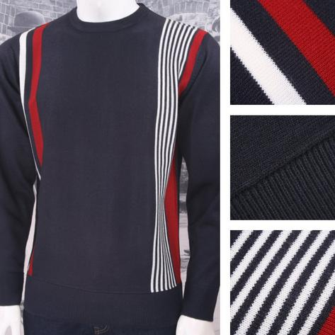 Relco Mod Retro 60's Fine Gauge Knit Racing Stripe Jumper Thumbnail 3