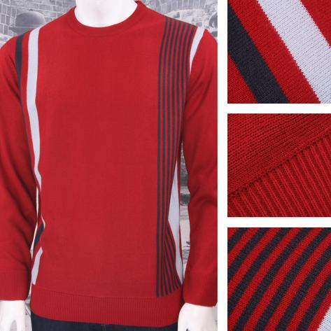 Relco Mod Retro 60's Fine Gauge Knit Racing Stripe Jumper Thumbnail 4