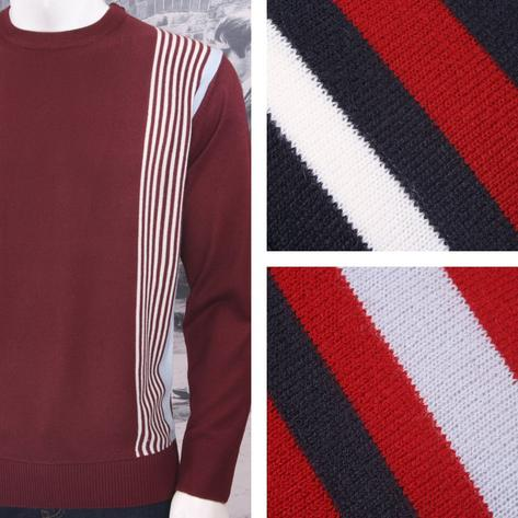 Relco Mod Retro 60's Fine Gauge Knit Racing Stripe Jumper Thumbnail 1