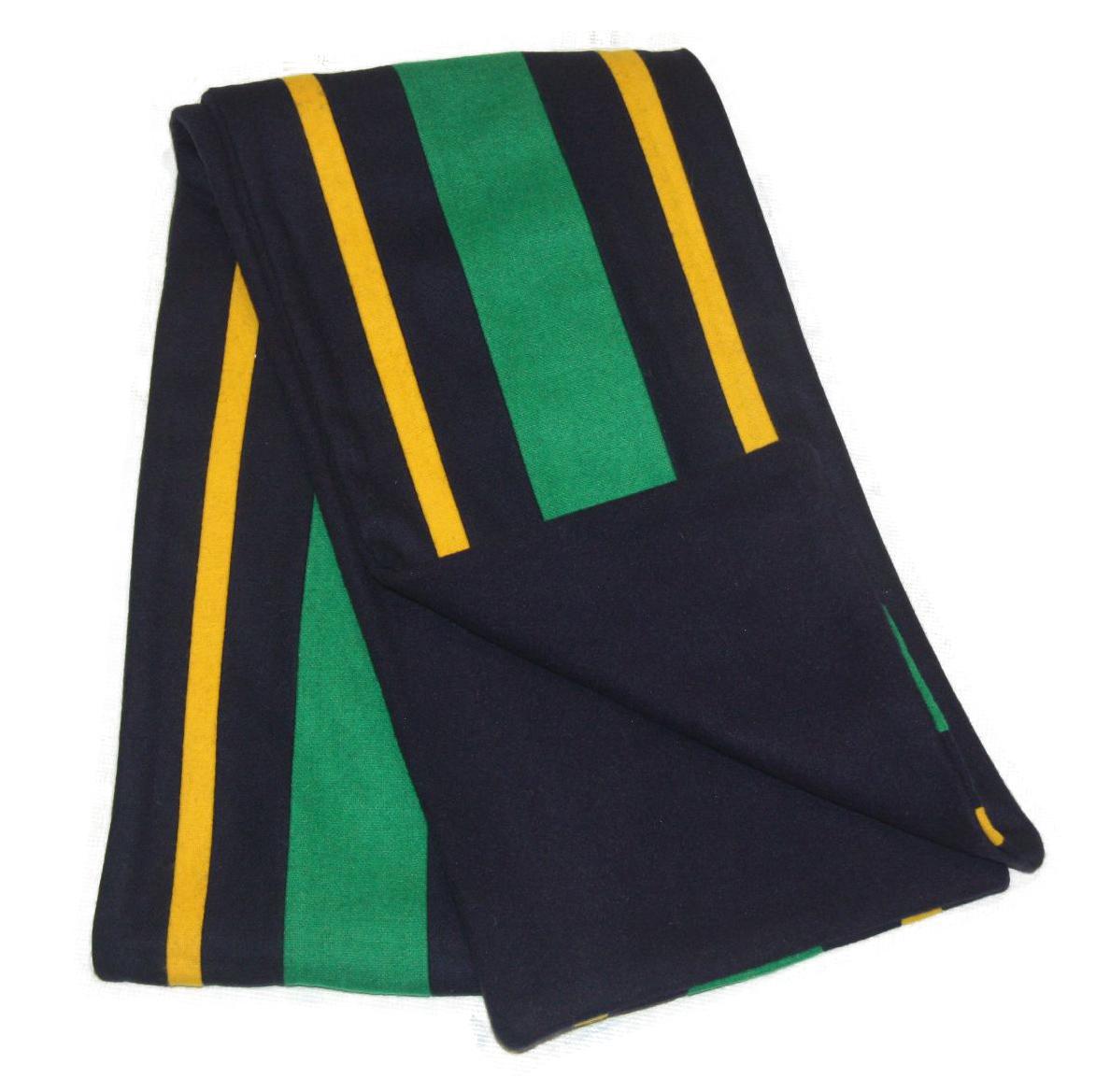 college stripe wool fleece scarf navy blue