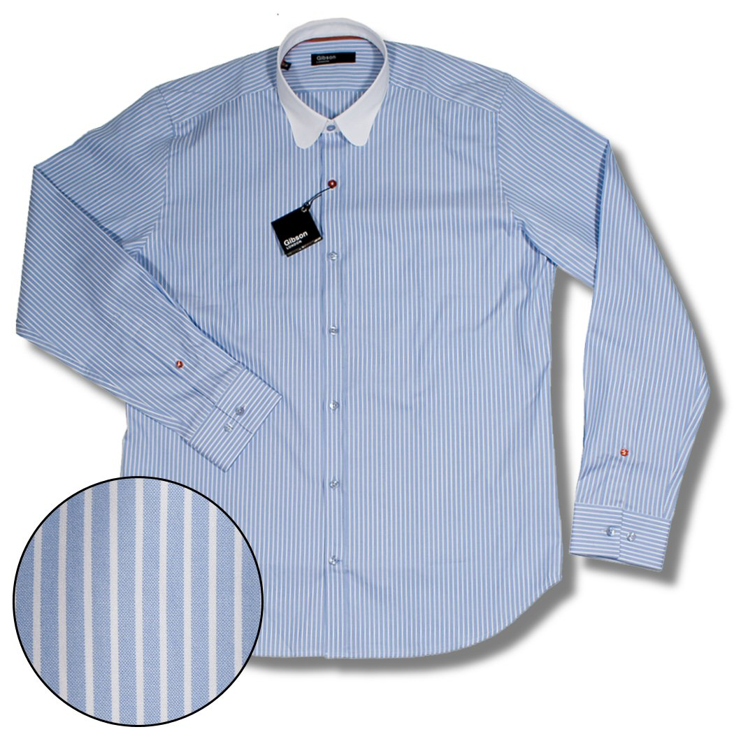 b91ac86931bc8a Gibson London Vintage Smart Round Collar Stripe L/S Shirt Sky Blue  Thumbnail 1