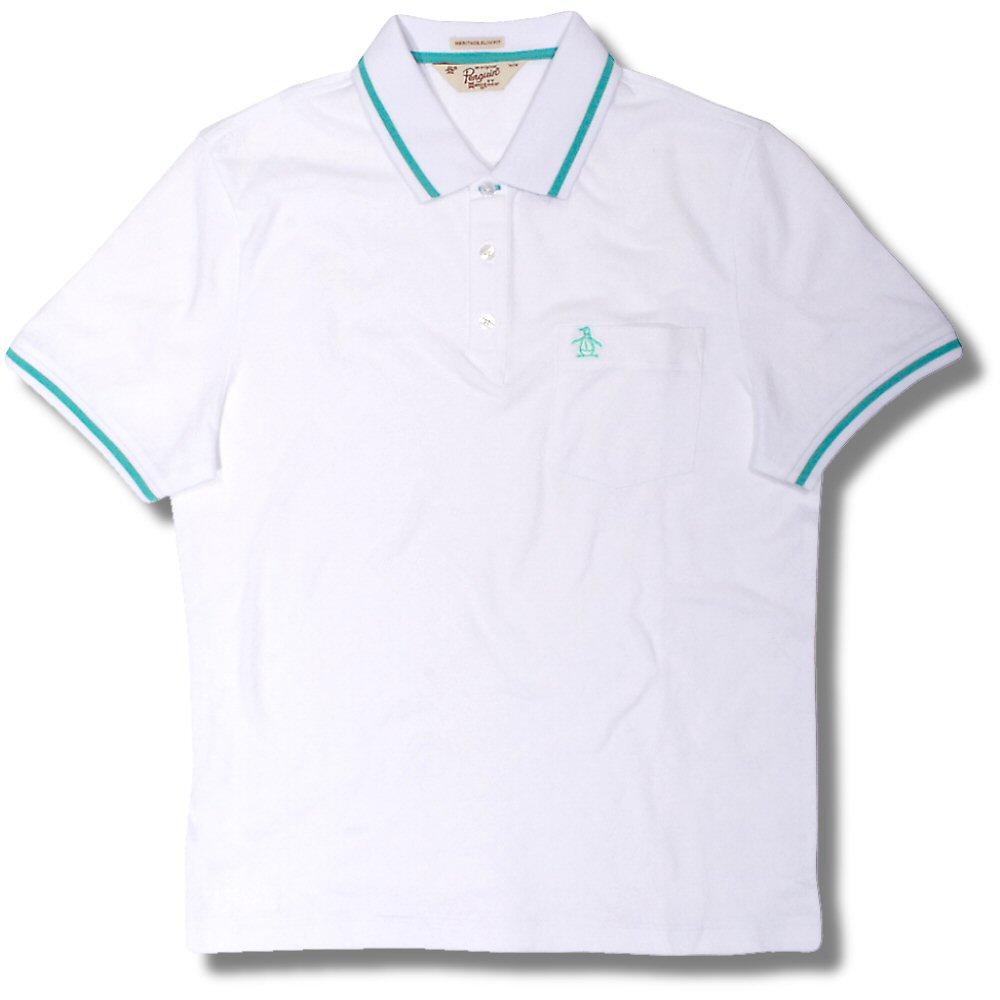df25d433 Original Penguin Tipped Diamond Jacquard Fabric S/S Polo Shirt White  Turquoise L Thumbnail 1