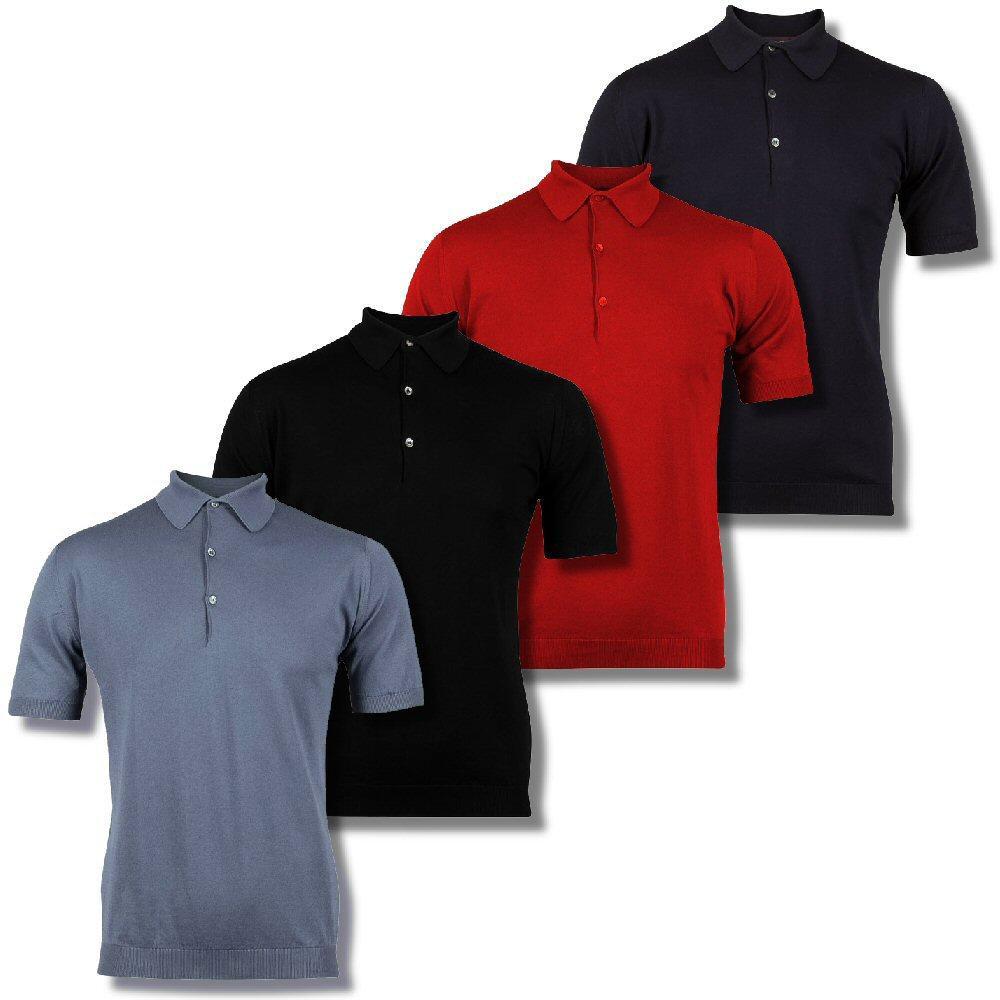 John smedley sea island cotton 3 button short sleeve knit for 3 button polo shirts
