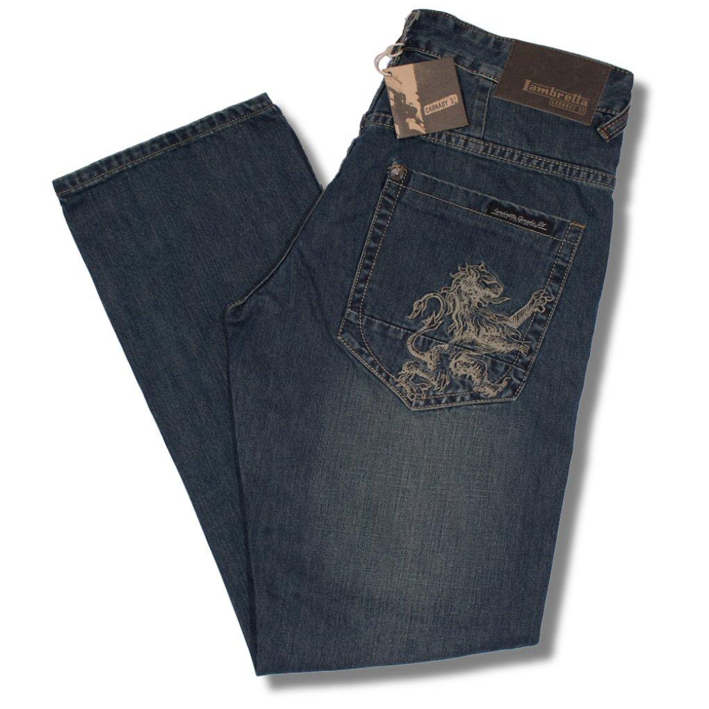 358d39f375a Lambretta Mod 60 s Retro Lion Pocket Easy Fit Denim Jeans Light Wash 36R Thumbnail  1