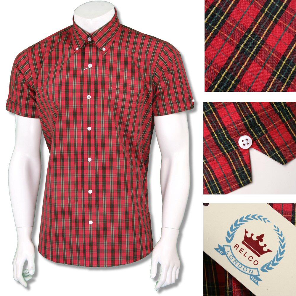 Relco Men/'s Red /& Blue Tartan Checked Short Sleeved Button Down Collar Shirt