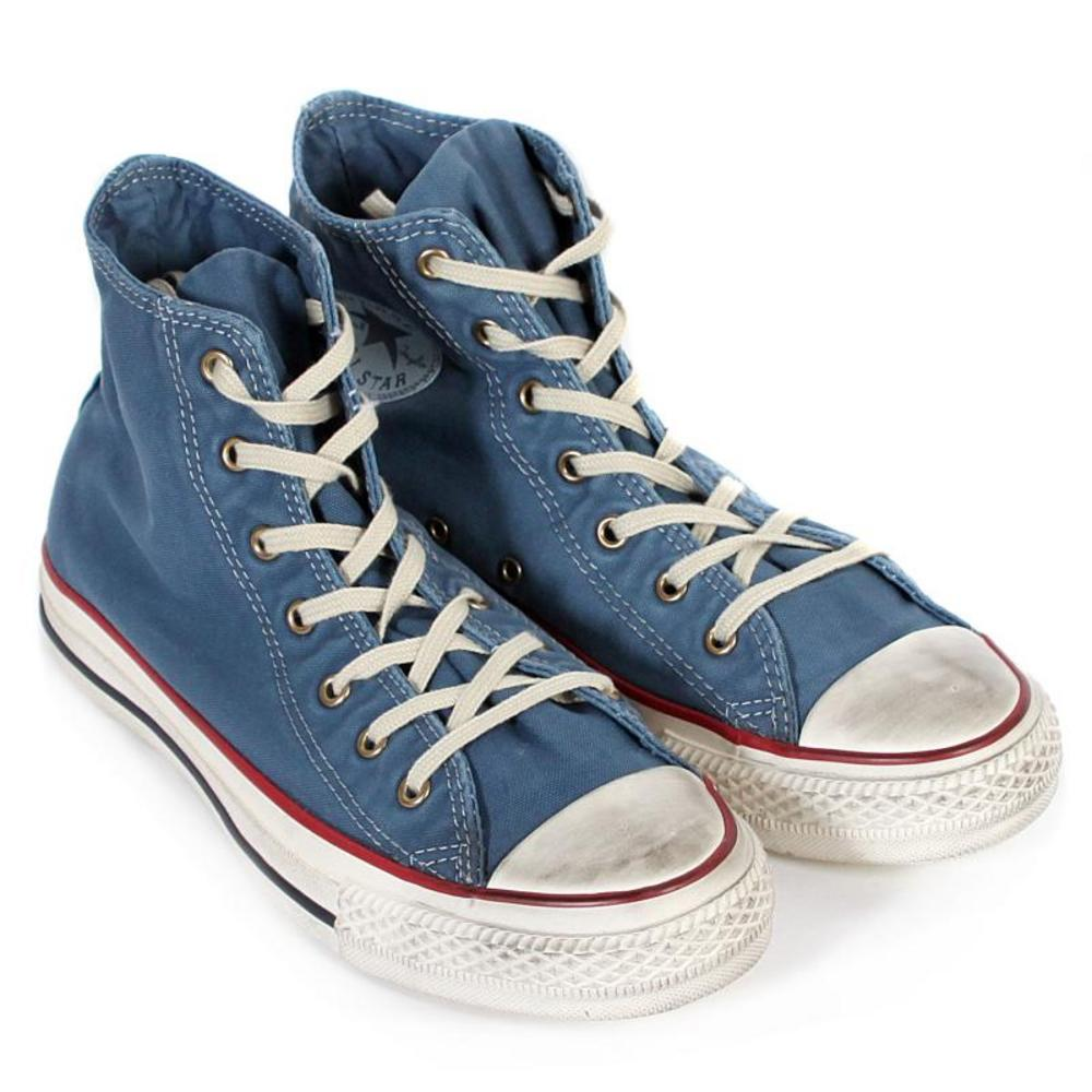 7acc7748e6698b Converse Well Worn Hi Top Trainer Boots Distressed Washed Stellar Blue