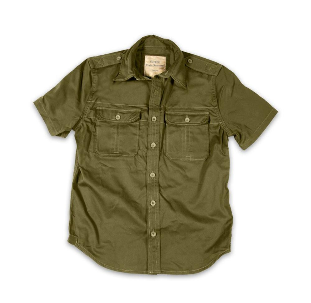 c6f523b95 Surplus Raw Vintage Plain Short Sleeve Military Army Style Shirt Olive  Green M