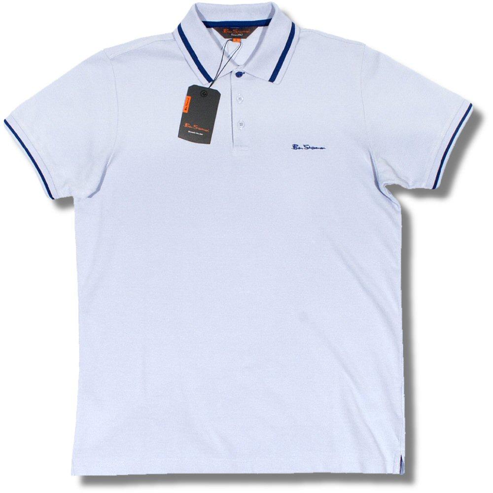 ca3f24b187ec6c Classic Ben Sherman Mod Pique Block Tipped S/S Polo Shirt Sky / Blue L