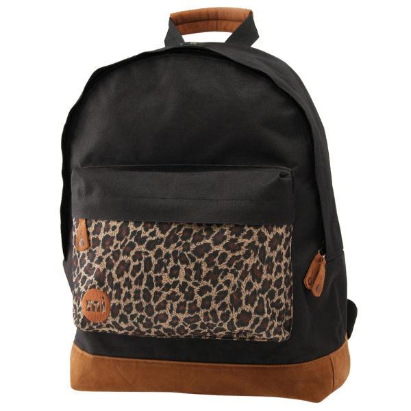 0e6fe8eb0a79 Mi-Pac Mipac Mi pac Backpack Rucksac Bag BLACK Leopard Print Pocket  Thumbnail 1