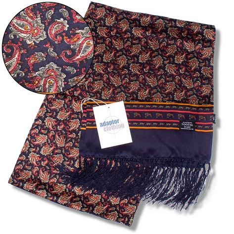 Authentic Tootal Mod 60's Retro Paisley Fringed 100% Silk Scarf Navy Blue Thumbnail 2
