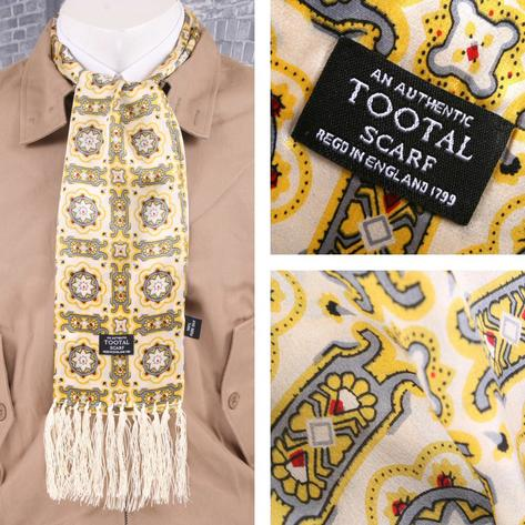 Authentic Tootal Mod 60's Retro Mosaic Tile Fringed 100% Silk Scarf Yellow
