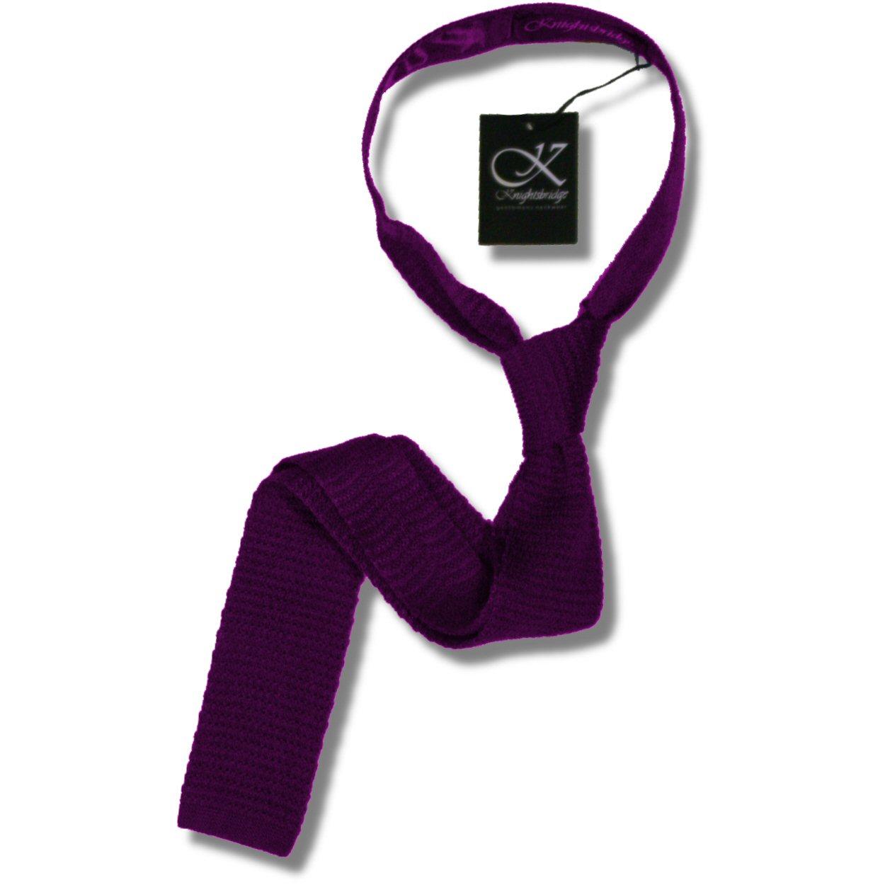 71f2ae2e0b8a Knightsbridge Retro Mod 60's Slim Square End Plain Knitted Silk Tie Purple  Thumbnail 1