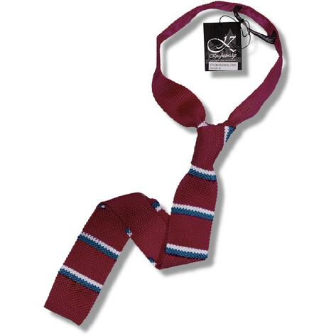 Knightsbridge Retro Mod 60's Ivy League Slim Square End Twin Stripe Knitted Silk Thumbnail 2