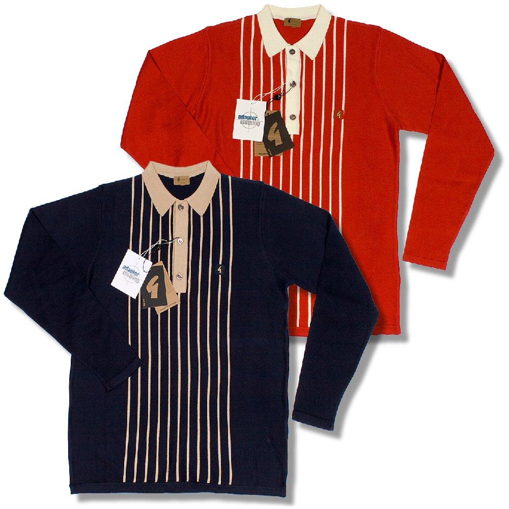Gabicci vintage mod retro 60 39 s l s 3 button stripe knit for 3 button polo shirts