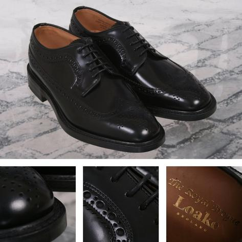 Loake Made in England Skin Mod Leather Long Wing Royal Brogue Shoe Black Thumbnail 1