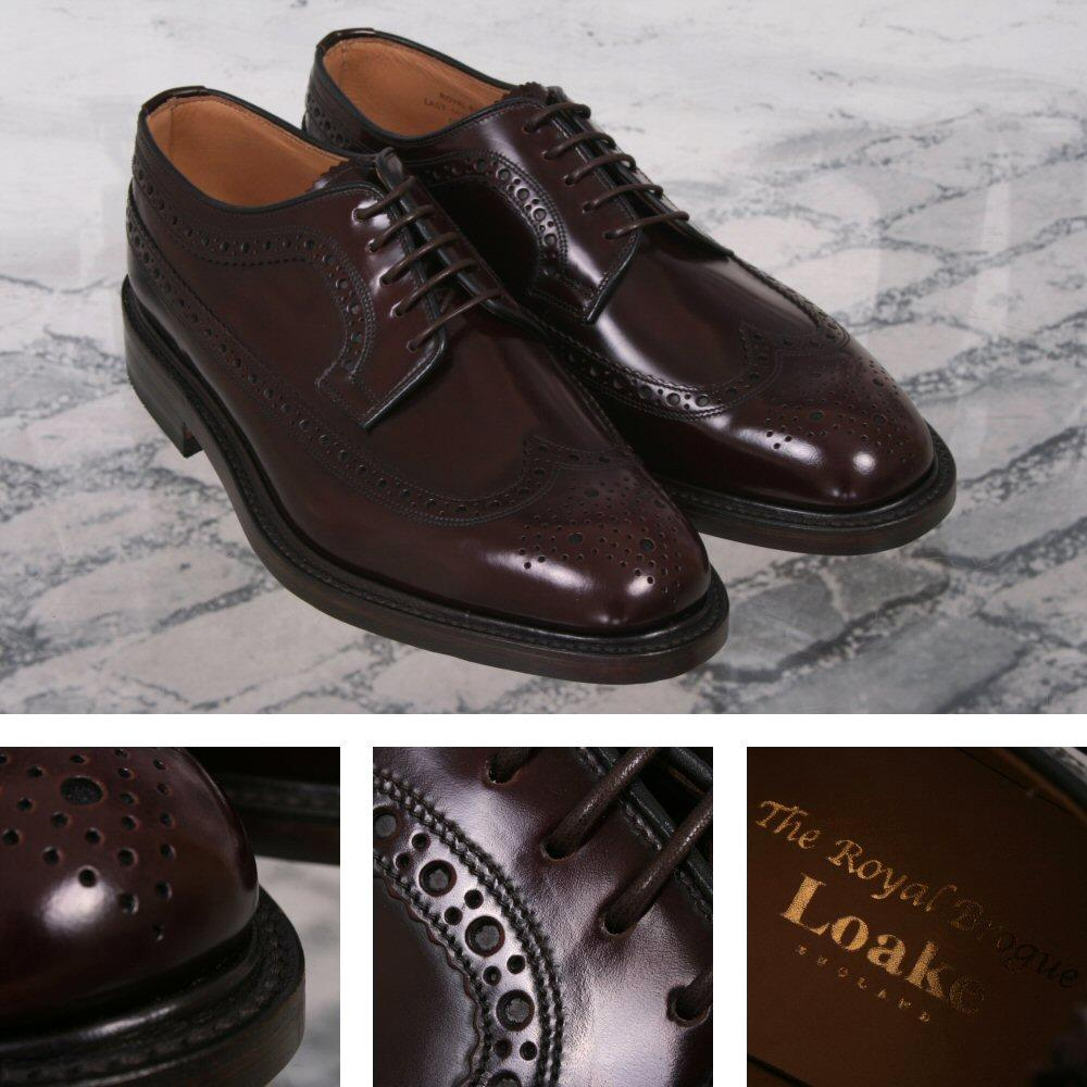 Loake Made in England Skin Mod Leather Long Wing Royal Brogue Shoe Burgundy