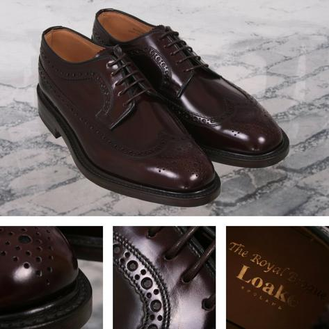 Loake Made in England Skin Mod Leather Long Wing Royal Brogue Shoe Burgundy Thumbnail 1