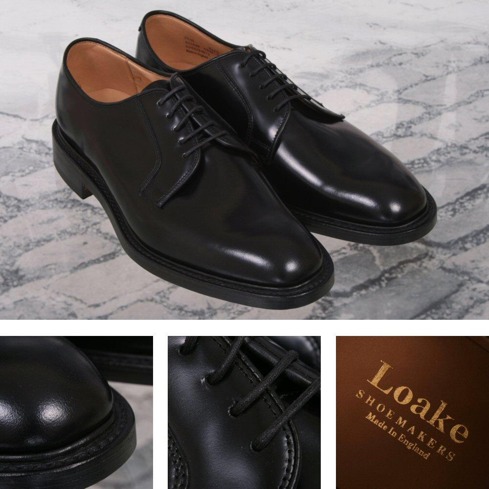 Loake Made in England Plain Polished Leather Lace Up Derby Shoe Black