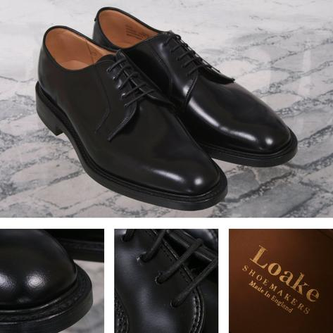 Loake Made in England Plain Polished Leather Lace Up Derby Shoe Black Thumbnail 1