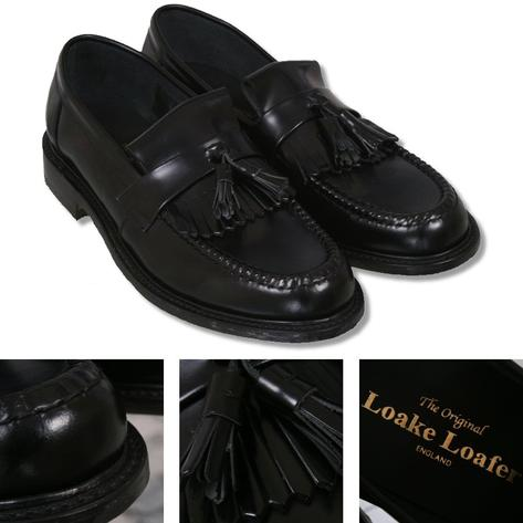 Loake Made in England Skin Mod Polished Leather Tassled Loafer Shoe Black Thumbnail 1