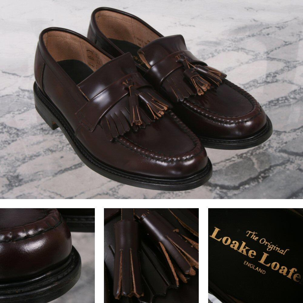 Loake Made in England Skin Mod Polished Leather Tassled Loafer Shoe Oxblood