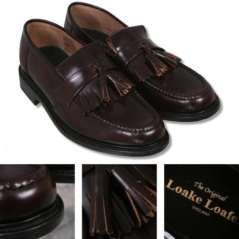 Loake Made in England Skin Mod Polished Leather Tassled Loafer Shoe Oxblood Thumbnail 1
