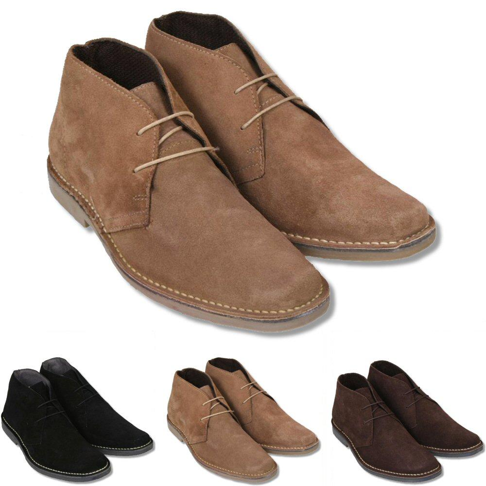 Roamers Mod Suede 2 Hole Rubber Sole Lace Up Desert Boots