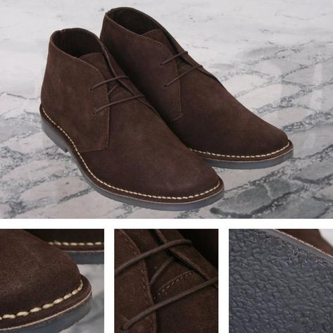 Roamers Mod Suede 2 Hole Rubber Sole Lace Up Desert Boots Thumbnail 3