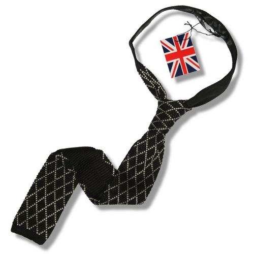 Knightsbridge Mod 60's Retro Diamond Slim Square End Knitted Silk Tie Black