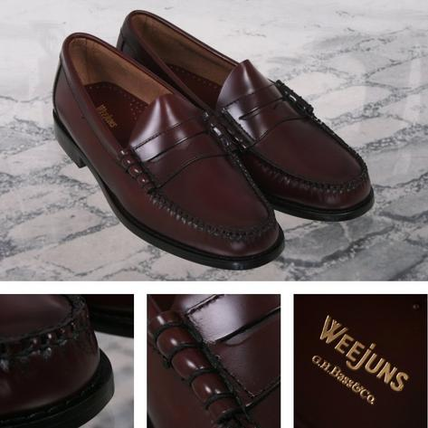 Bass Weejuns Classic Ivy League Mod 60's Leather Penny Loafer Shoe Burgundy Thumbnail 1